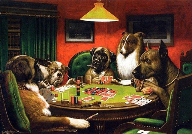 Dipinto Cani che giocano a poker di Coolidge