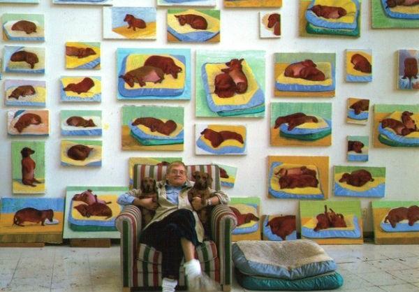 I bassotti di David Hockney dipinti